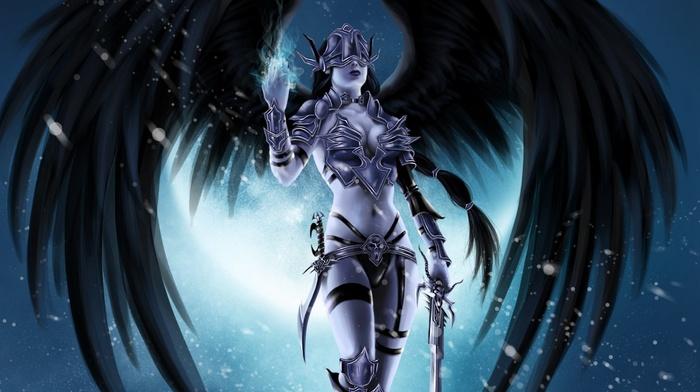 wings, demon, weapon, anime, fantasy art, angel, sword, anime girls