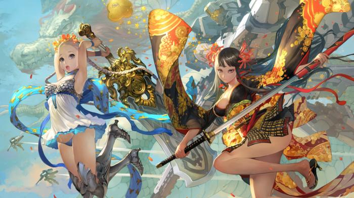anime girls, mech, weapon, dragon, original characters, sword, katana, anime