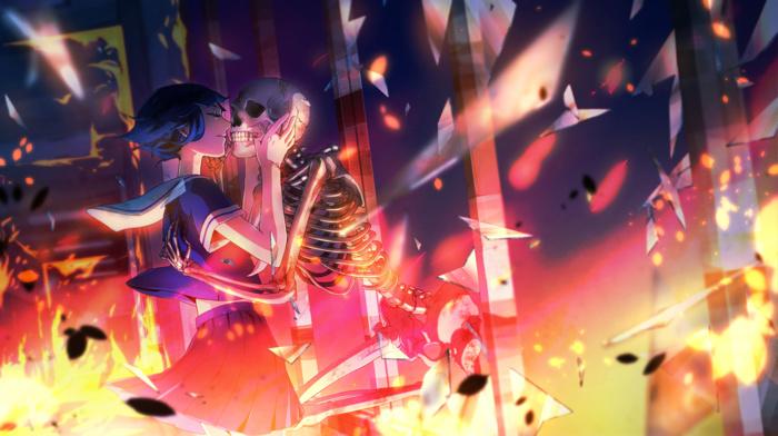 anime, original characters, closed eyes, skeleton, anime girls