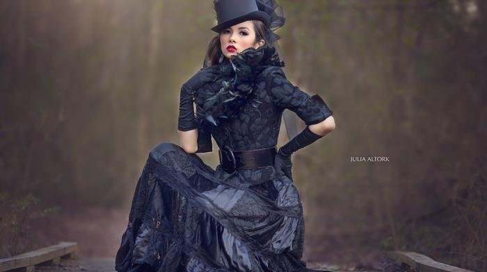 brunette, model, sitting, girl, hat, brown eyes, millinery, looking away, steampunk, girl outdoors, dress