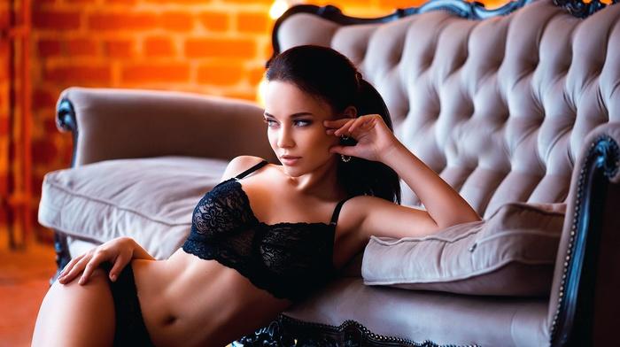 couch, black bras, panties, armpits, girl, model, black lingerie, Angelina Petrova, hands on hips, black panties, sensual gaze, bra, looking away, lingerie, boobs, brunette