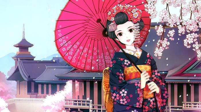 Japanese clothes, umbrella, anime girls, anime, Asian architecture, geisha, Japanese umbrella, kimono, cherry blossom