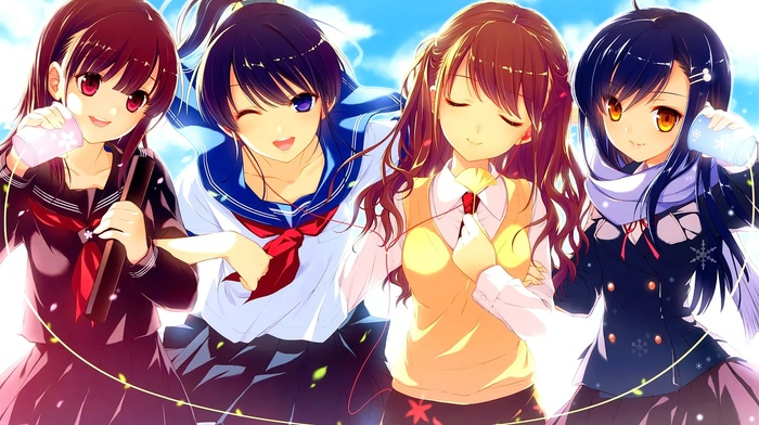 sailor uniform, closed eyes, school uniform, anime girls, original characters, anime