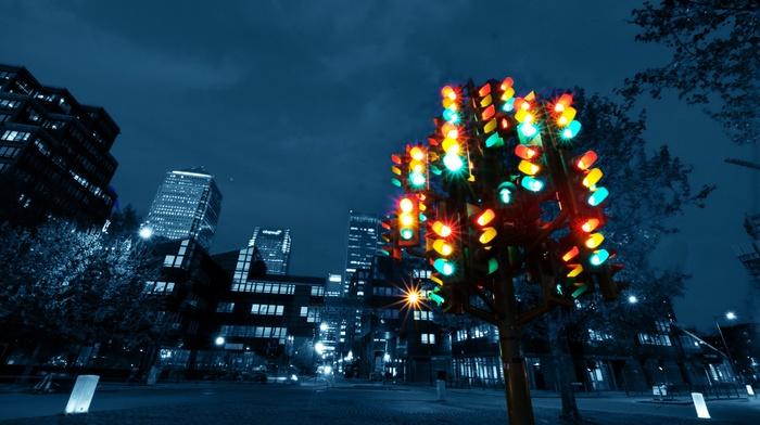 London, colorful, night, UK, traffic lights, city