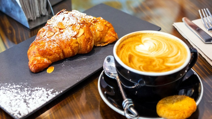 food, coffee, croissants, breakfast