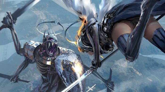 digital art, sword, armor, shield, wings, knight
