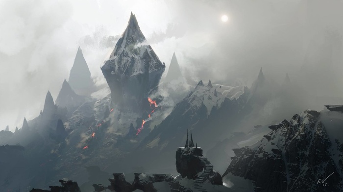 mountains, Sun, snow, rock, nature, mist, Espen Saetervik, stairs, lava, fantasy art