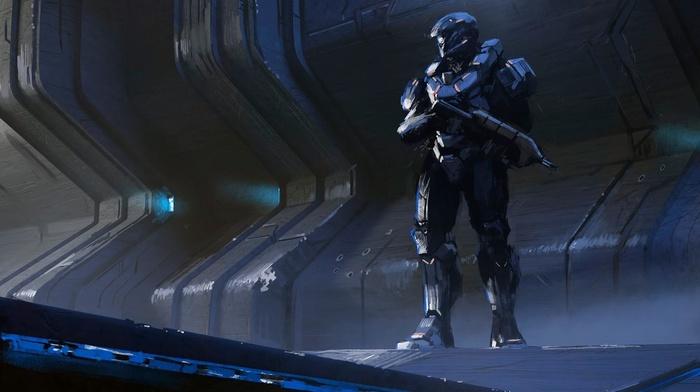 Spartans, futuristic, fantasy art, soldier, Halo, gun, artwork, Espen Saetervik, science fiction