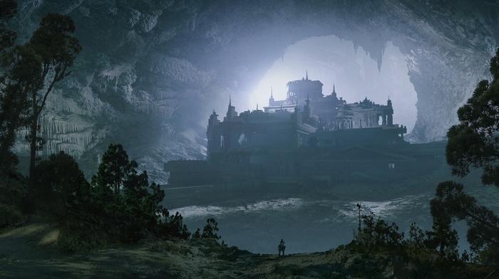 building, fantasy art, Espen Saetervik, cave, castle, trees, nature