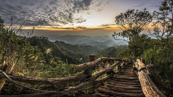 path, sunset, national park, hills, landscape, Taiwan, mist, walkway, nature