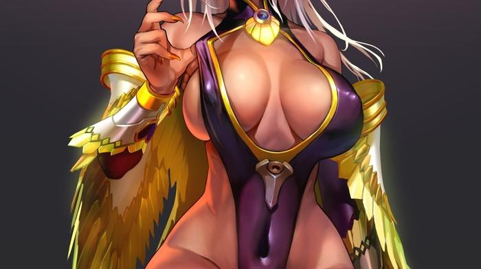 anime girls, dark skin, red eyes, wings, cleavage, no bra, horns, original characters, anime, armor