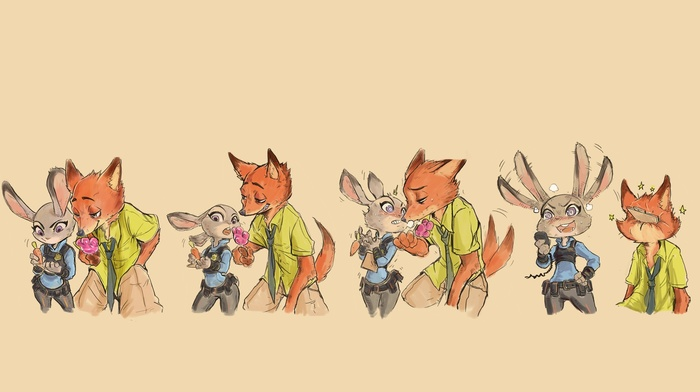 nick wilde, Zootopia, judy hopps, simple background, sketches