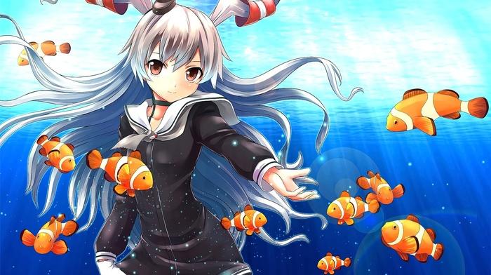 Kantai Collection, fish, clownfish, anime, underwater, anime girls, Amatsukaze Kancolle