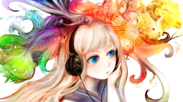 anime, rabbits, animals, anime girls, blue eyes, original characters, unicorn, headphones, fish