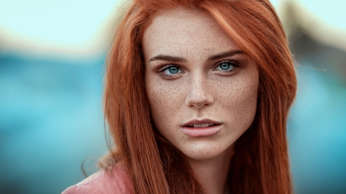 depth of field, girl, blue eyes, portrait, redhead, looking at viewer, face, freckles