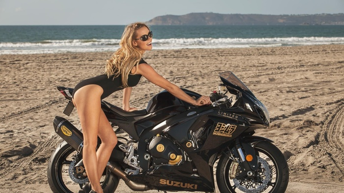 beach, girl with motorcycles, girl, motorcycle, model, girl with glasses