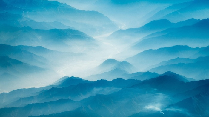morning, landscape, aerial view, Himalayas, mountains, nature, mist, blue