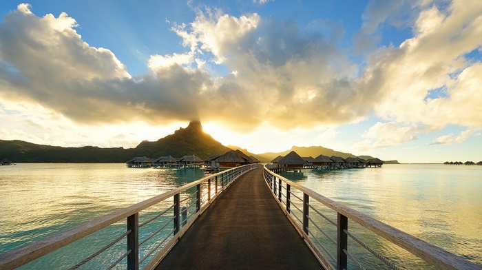 beach, walkway, tropical, sunset, resort, sea, landscape, French Polynesia, bungalow, Bora Bora, nature, island, clouds