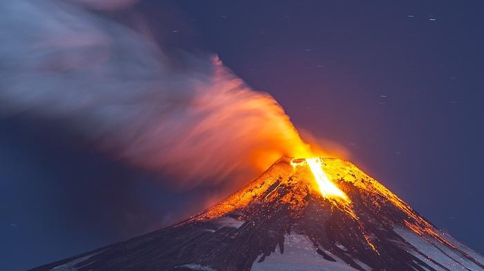 lava, snowy peak, smoke, Chile, nature, long exposure, eruption, volcano, starry night
