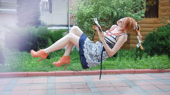 redhead, girl, Alina Kovalenko, reading, books, girl outdoors, legs, flying, dress, heels