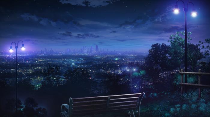 cityscape, hills, lantern, bench, city lights, landscape, park, night, skyline, anime