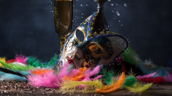 drink, venetian masks, feathers, festivals, mask