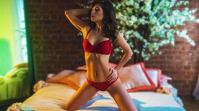 model, in bed, red lingerie, lingerie, girl, bed