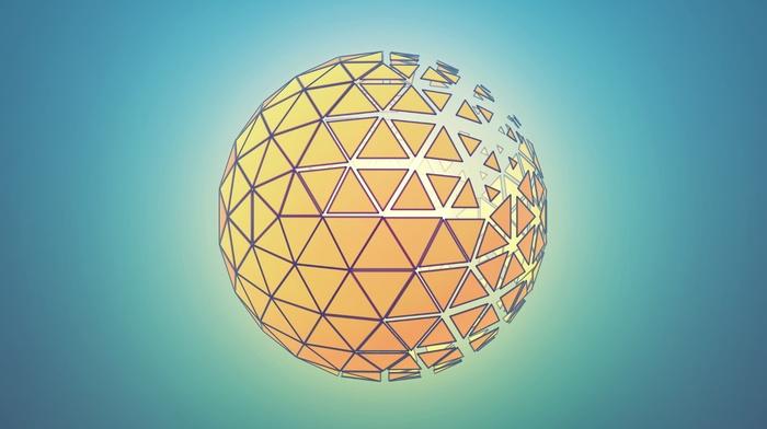 abstract, orange, blue, sphere, photoshop, Cinema 4D