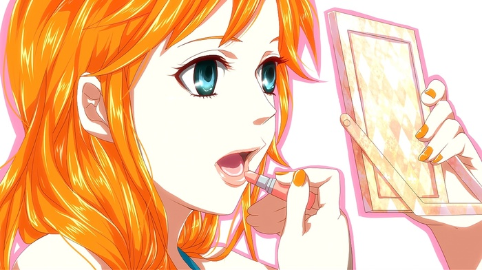 open mouth, anime girls, white background, redhead, blue eyes, anime, looking away, Nami, One Piece