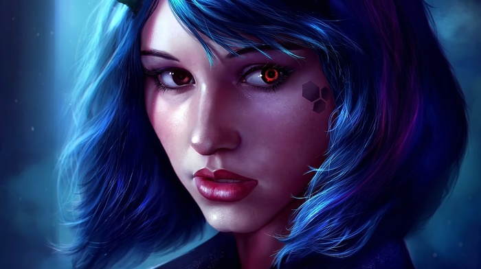 short hair, looking away, anime, realistic, red eyes, lips, original characters, blue hair, anime girls