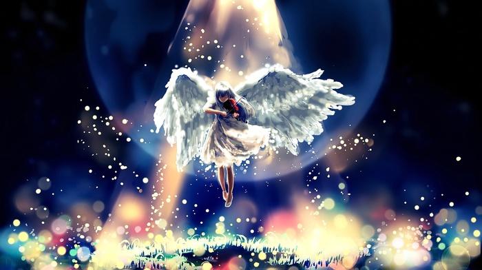 angel, wings, original characters, flying, violin, closed eyes, anime girls, long hair, anime