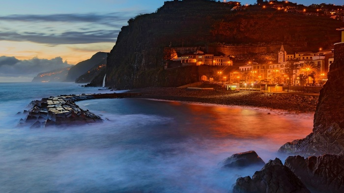 architecture, evening, photography, cliff, nature, island, Portugal, landscape, bay, city, lights, sea, madeira, beach