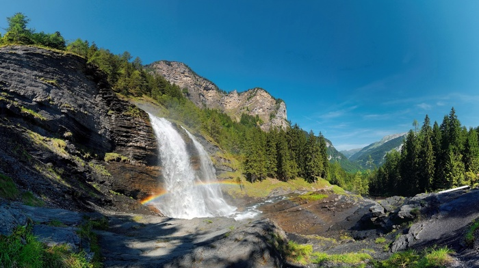 rainbows, summer, cliff, waterfall, mountains, landscape, Alps, nature, France, forest