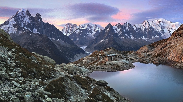 sunset, landscape, nature, glaciers, rock, hut, lake, stones, mountains, snowy peak