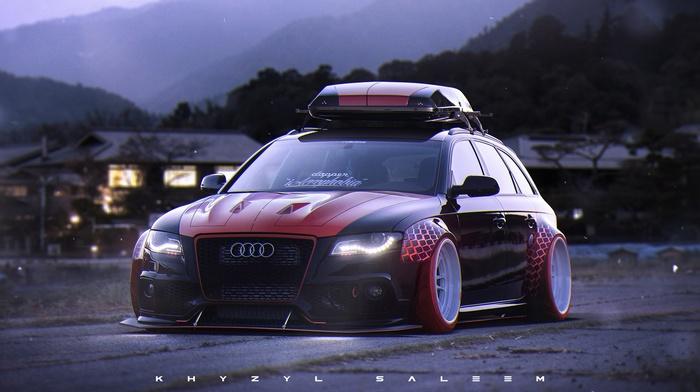 Audi RS4 Avant, tuning, artwork, car, Khyzyl Saleem