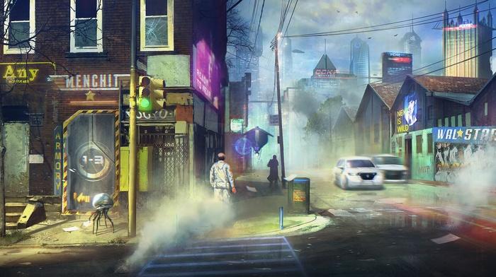 artwork, fantasy art, futuristic, city
