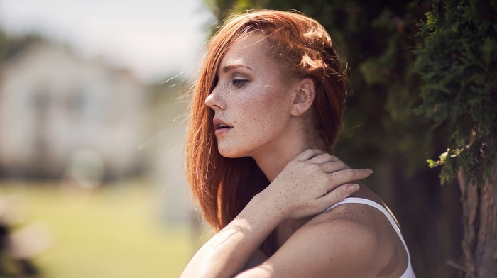 redhead, girl, profile, looking away, hair in face, girl outdoors, Ruby James, freckles, Kyra Karmichael