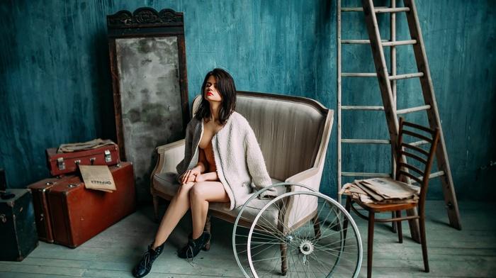 model, girl, interior, sitting