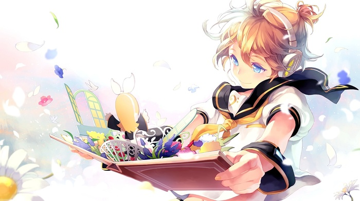 Vocaloid, books, anime, blonde, smiling, anime boys, short hair, Kagamine Len, blue eyes, headphones