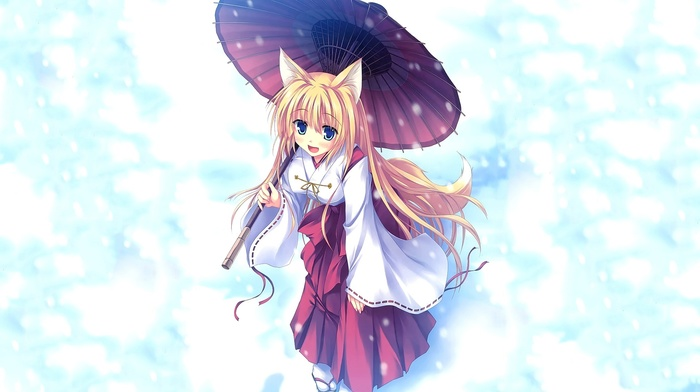 anime girls, snow, kitsunemimi, umbrella, anime, long hair, blue eyes, looking at viewer, open mouth, animal ears, original characters, fox girl, miko, blonde
