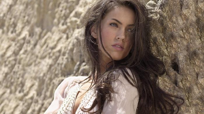 lips, rocks, green eyes, girl, eyes, open mouth, long hair, brunette, Megan Fox, looking away