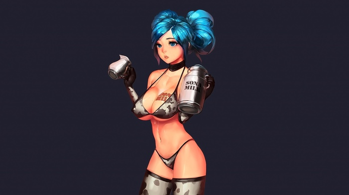 anime girls, bikini, Sona League of Legends, anime, looking away, big boobs, underwear, aqua hair, League of Legends, aqua eyes, open mouth