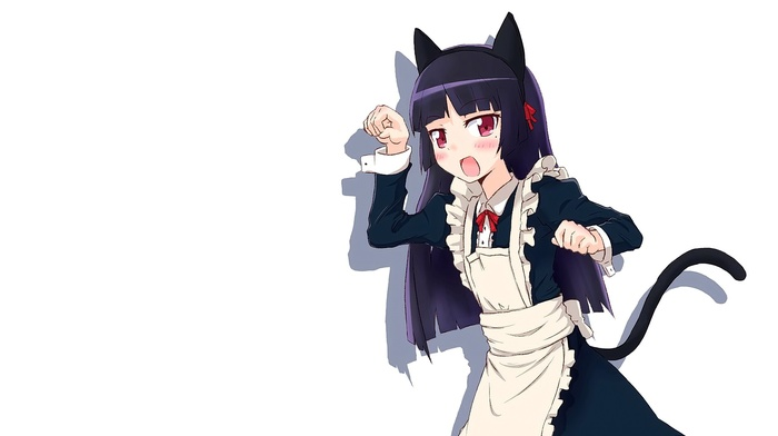 animal ears, cat ears, maid outfit, nekomimi, anime, red eyes, anime girls, long hair, cat girl, brunette, open mouth, Gokou Ruri, Ore no Imouto ga Konnani Kawaii Wake ga , looking at viewer