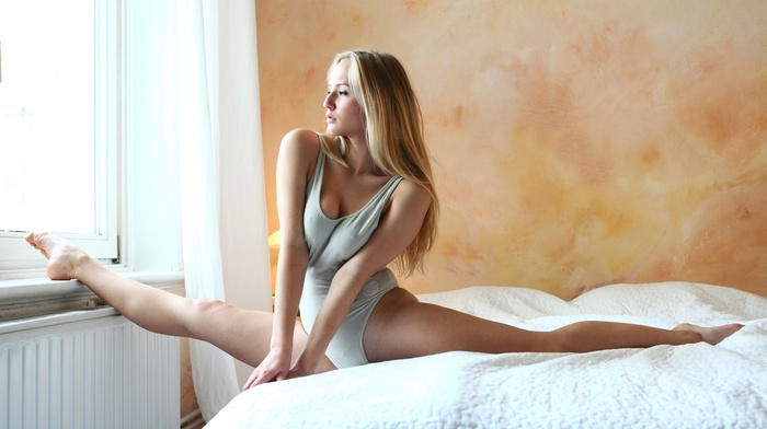 girl, nipples through clothing, carsten thun, splits, window sill, looking out window, One, piece swimsuit, blonde, barefoot, in bed