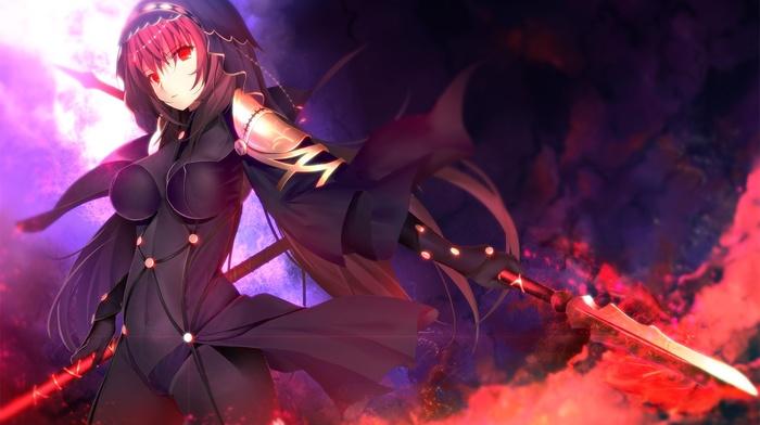 knife, Lancer FateStay Night, spear, anime girls, fate series, red eyes, FateStay Night, anime