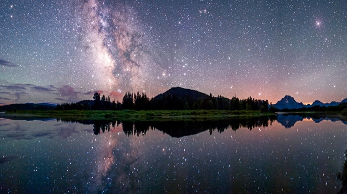 long exposure, starry night, mountains, landscape, nature, reflection, lake, Milky Way