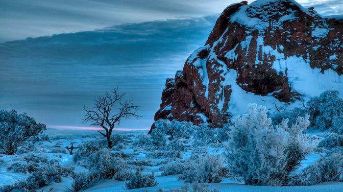 winter, snow, nature, sunset, shrubs, Arches National Park, rock, landscape