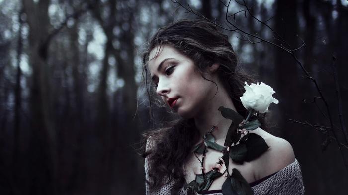 girl, rose, girl outdoors, flowers