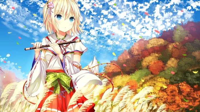 sky, short hair, Japanese clothes, forest, anime, cat girl, blue eyes, clouds, anime girls, original characters, blonde