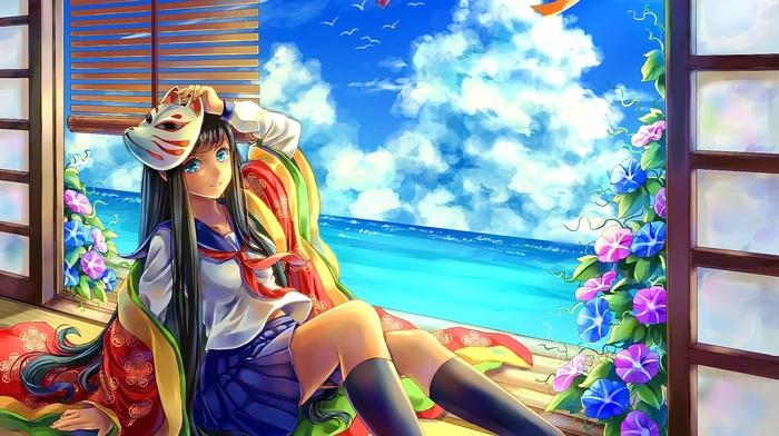 mask, original characters, window, anime girls, anime, kimono, sailor uniform
